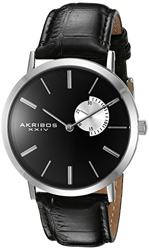Akribos XXIV Men's AK848SSB Black Dial Silver and Black Leather Strap Watch