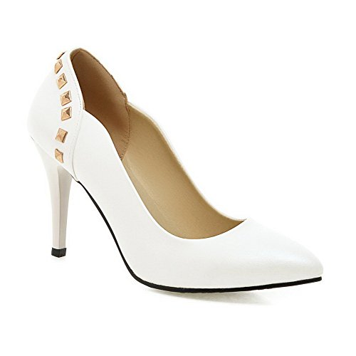 Toe Shoes Solid White Spikes Pull Stilettos On Pu Pumps Pointed Women's VogueZone009 Closed wPqZ0xg5n