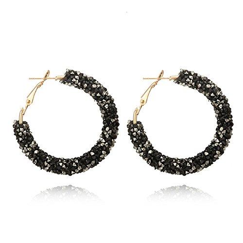 Agelloc Women Trendy Glitter Crystal Rhinestone Hoop Earrings High Polished Big Large Round Dangle Drop Stud Earrings Bridal Wedding Dainty Jewelry Accessories (BK)
