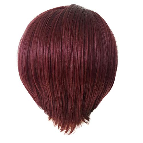 Willsa Fashion Synthetic Short Straight Red Wine Color Women's Wigs Natural Hair Wigs for $<!--$3.55-->