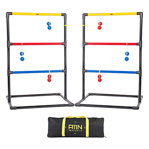 A11N 2019 Upgraded Premium Ladder Toss Game Set with 6 Golf Bolas & Carry Bag | Portable Design for Beach, Lawn, Camping, Cookouts, Tailgate, Party Game | -