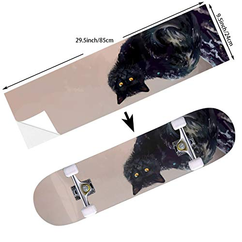 STREET FFX Fashion Funny Skateboard Cruiser Deck and Balance Board Stickers Decals Grip Tape - 9.5 x 33.5 Inches - Artistic Animal Cat