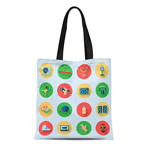 (Semtomn Canvas Tote Bag Shoulder Bags Spray Hip Rap Hiphop Singing Breakdance Music Hop Can Women's Handle Shoulder Tote Shopper Handbag)