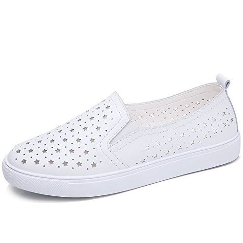 On Loafers Tennis Sneakers Womens Slip Shoes Comfort White HKR Leather Casual White hollow Driving Out Sole RUqtWc0