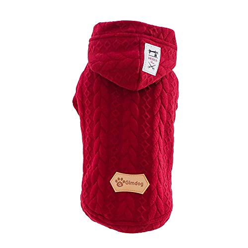 Letdown Pet Winter Coat,Puppy Grain Line Hooded Sweater Dog Cat Warm Apparel Costume Clothes (L, Wine Red)]()