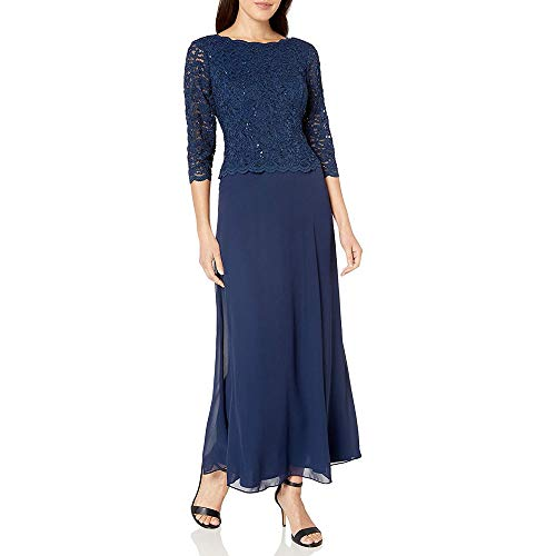 Alex Evenings Women's Long Mock Dress with Full Skirt (Petite and Regular Sizes), Navy, 12