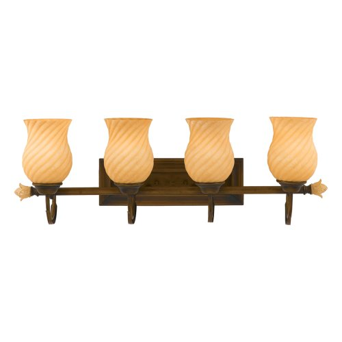 Quoizel Juliet 9-Inch Bath Sconce with One Light with Amber Alabaster Glass with Painted Accents, Verona Finish #JL8601VE