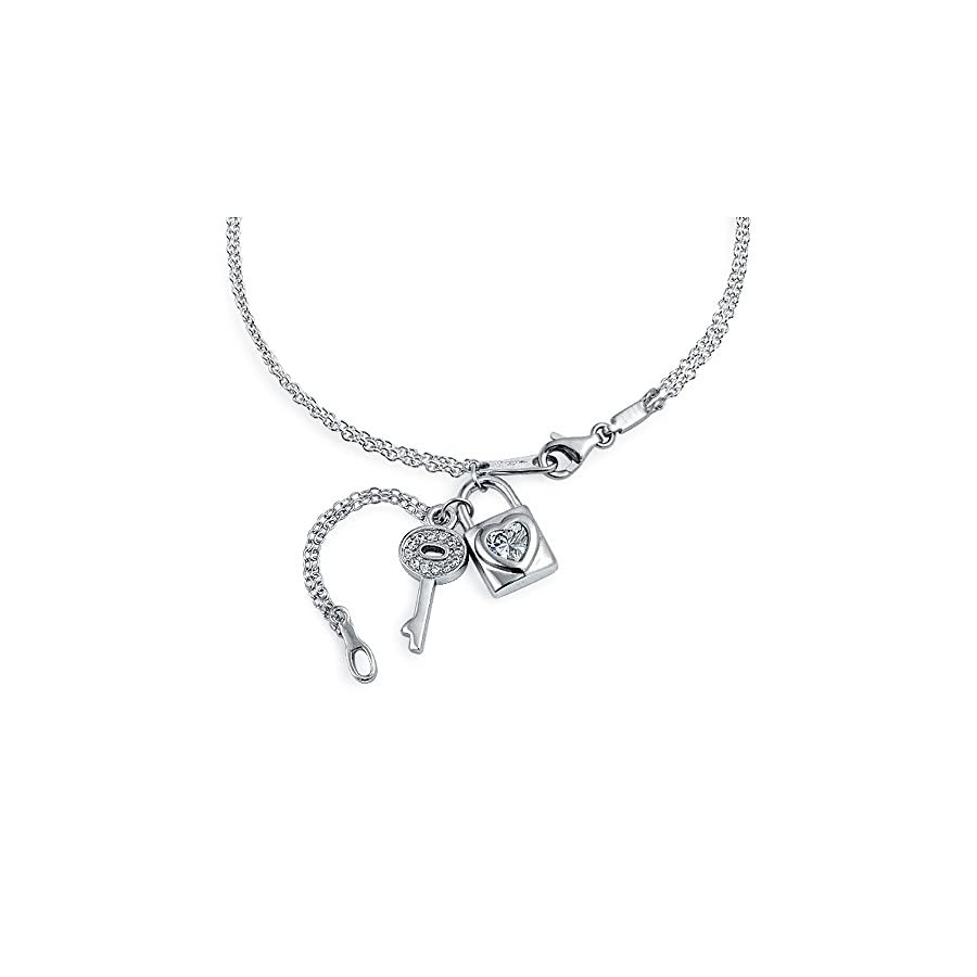 Key and Lock CZ Heart Dangle Charm Anklet Chain Ankle Bracelet 925 Sterling Silver Adjustable 9 to 10 Inch Extender