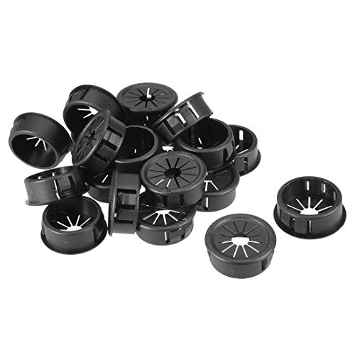 ZCHXD 20Pcs 25mm Black Plastic Insulation Cable Pipe Hose Snap Bushing Grommet