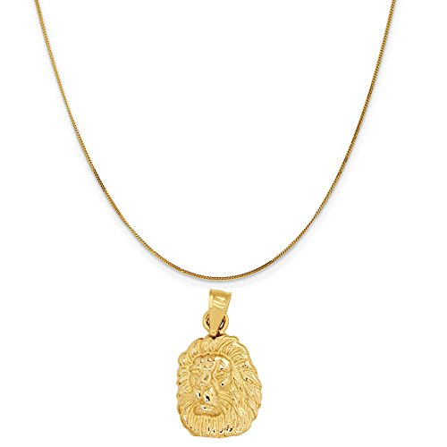 14k Yellow Gold Lion Head Pendant on a 14K Yellow Gold Curb Chain Necklace, 18'' by Eaton Creek Collection