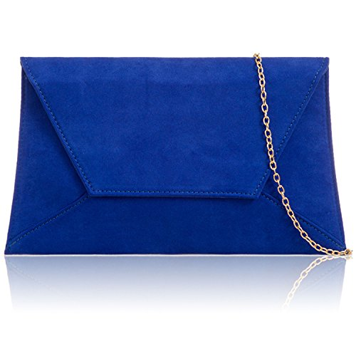 Xardi London Large Flat Suede Envelope Women Clutch Bridesmaid Prom Party Ladies Evening Bags Royal Blue