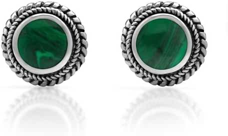 925 Sterling Silver Bali Inspired Tiny Gemstone Braided Round 9 mm Post Stud Earrings