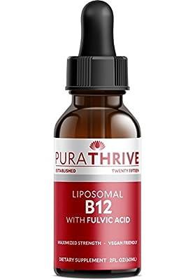 PuraTHRIVE Vitamin B12 Liquid Drops. Liposomal B12 in Methycobalamin form for Maximum Absorption and Potency. Vegan Friendly, GMO free, Made in USA.