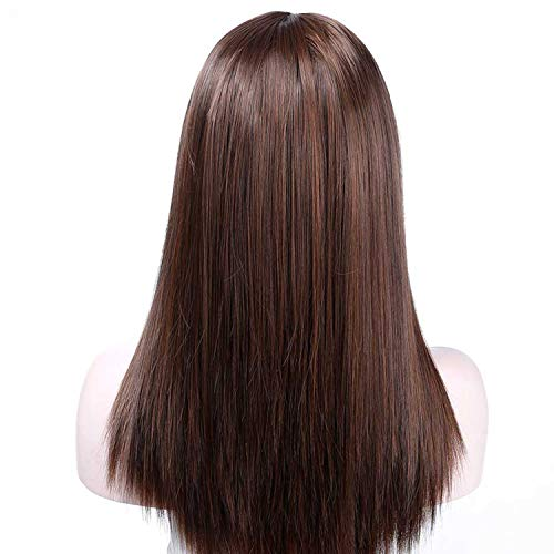 Minyu 20 Inch Long Straight Brown Wigs with Bangs for Women Heat Resistant Synthetic Wigs Daily Wear Wigs 6 Colors-in Synthetic None,#30,20inches]()