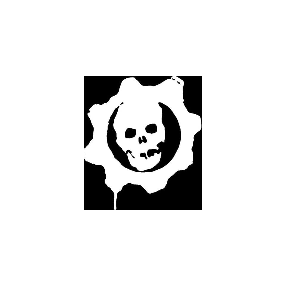 SKULL GEARS STAMP 5 (color PURE WHITE) Vinyl Decal Window Sticker for Cars, Trucks, Windows, Walls, Laptops, and other stuff.