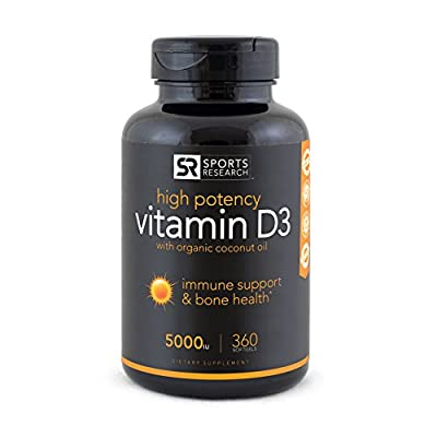 Vitamin D3 (Highest Potency) with Coconut Oil, 360 Liquid-Softgels