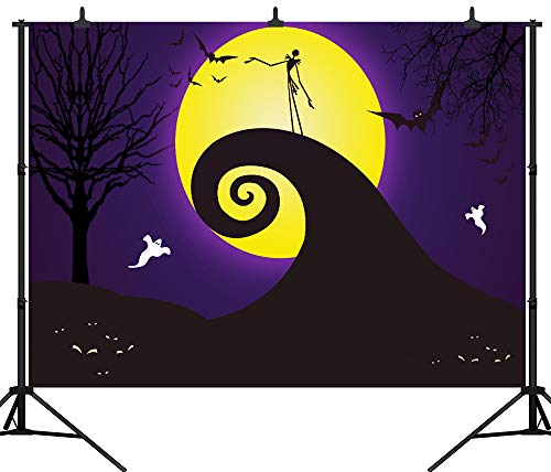 (DePhoto 7X5FT(210X150CM) Halloween Backdrop Pumpkin Lantern Yellow Moon Ghost Bat Seamless Vinyl Photography Photo Background Studio Prop PGT274A)