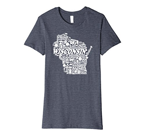 Womens PREMIUM Wisconsin State Tshirt Love Wisconsin Home Tee XL Heather Blue -