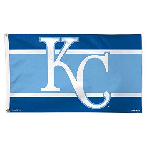Kansas City Royals Tailgate - Kansas City Royals Flag 3x5 KC Logo Navy Light Blue Deluxe Grommets Reinforced Flyend MLB