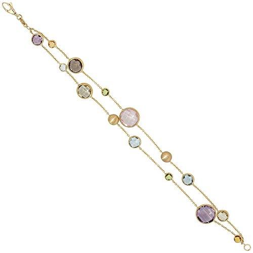 Bracelet de pierres précieuses de la baltique multicolore 19 cm en or jaune 585