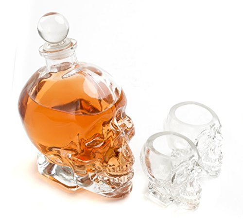 Large Skull Face Decanter with Skull Shot Glasses Use Skull Head Cup For A Whiskey, Scotch and Vodka Shot Glass, 25 Ounce Decanter 2 Ounces Shot Glass