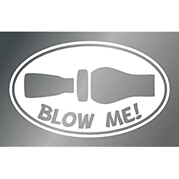 Blow me duck hunting whistle oval sticker white