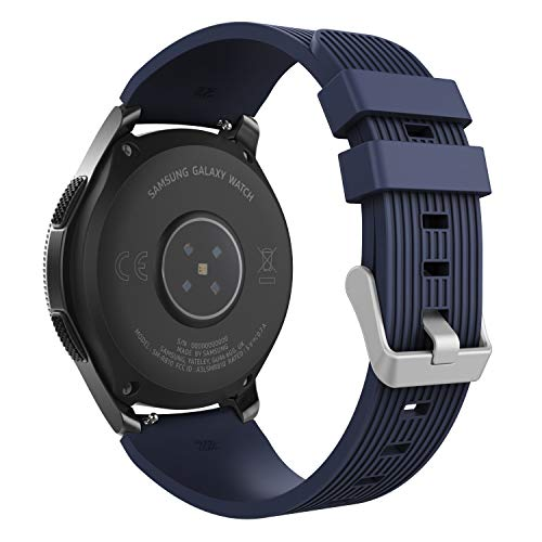 MoKo Band Compatible with Samsung Galaxy Watch 46mm, Soft Silicone Replacement Sport Strap Fit Samsung Galaxy Gear S3 Classic/Frontier/Moto 360 2nd Gen 46mm Smart Watch - Midnight (Best Moko Watch Phones)