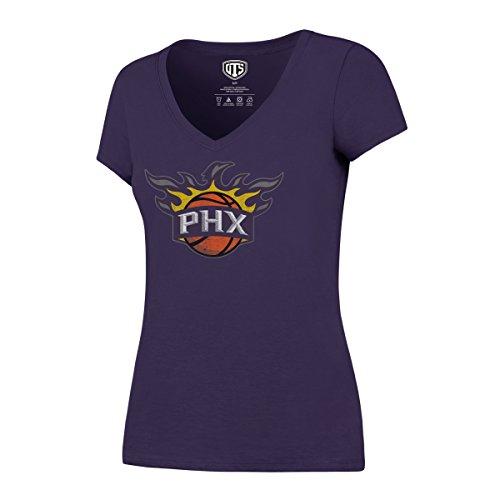 NBA Phoenix Suns Women's OTS Rival V-Neck Tee, Team Color Secondary Logo, Large (Phoenix Suns T Shirt)