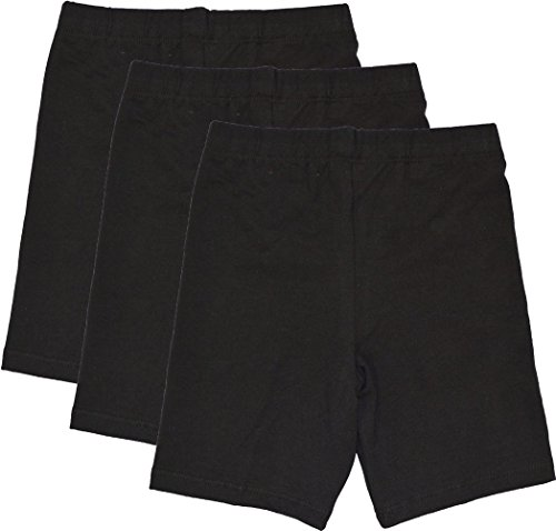 Stretch is Comfort Girl's Cotton Biker Shorts Set Of 3 Pieces Black Medium (Piece Shorts Cotton Three)