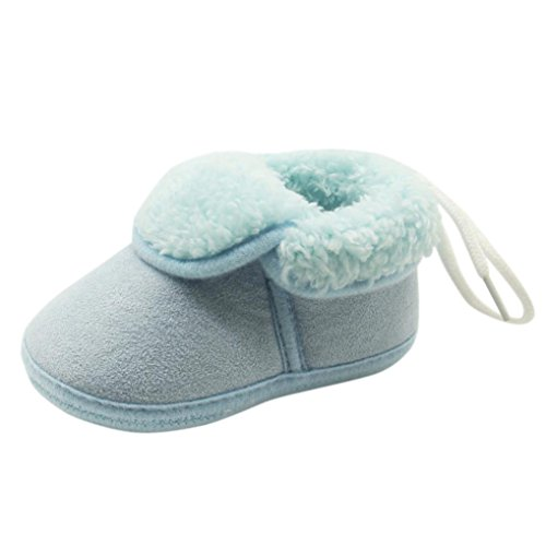 Hunpta Kleinkind Neugeborene Baby Solid Soft Sole Stiefel Prewalker Warm Schuhe Blau
