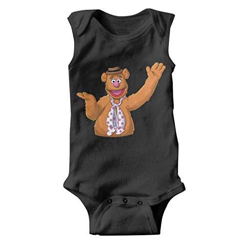 Baby Boys Trottie Sleeveless Black Fozzie-Bear-Animal-Muppet-Cozy Organic Cotton Onesies