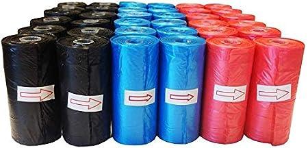 Colores al azar Bolsa caca perro 200 bolsas en total bolsa excremento perro rojo azul y negro 10 rollos 20 bolsas por rollo Improhome