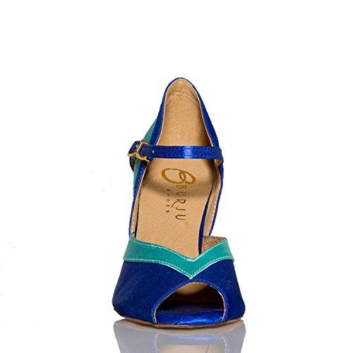 Mary latine danse Jane Chaussures YCL002 Bleu Minitoo écoles de Satin femme qxCw6PEBU