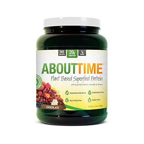 About Time Plant Based Superfood Protein, All Natural,Gluten/Cholesterol Free, 20g of Protein Per Serving (Chocolate Shake - 1.3 Pounds