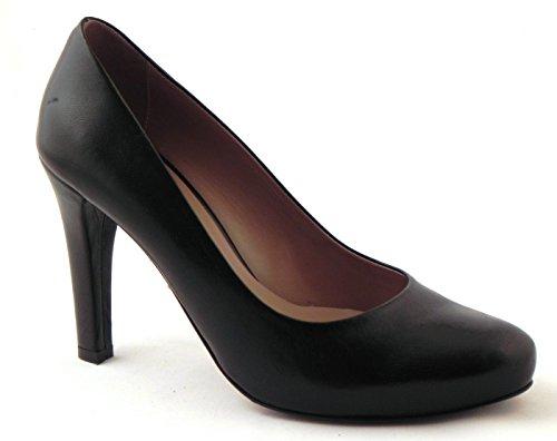 Artículo D5058 tribunal calzado clásico de superficie de piel, color negro