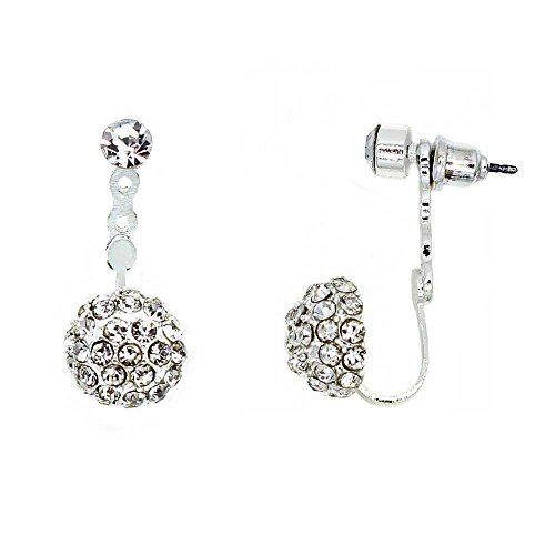 - KIS-Jewelry Crystal Half Dome Earring Jackets - Beautiful Peekaboo Stud Earrings with Pave Crystal Ball, Silver Plated