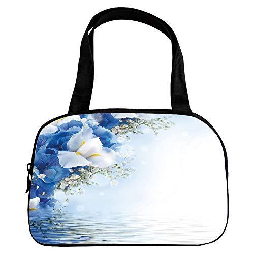 Hydrangea Dreamy (iPrint Increase Capacity Small Handbag Pink,Light Blue,Blue Hydrangeas and White Irises Over The Sea Romantic Bouquet Dreamy,Blue Light Blue White,for Girls,3D Print Design.6.3