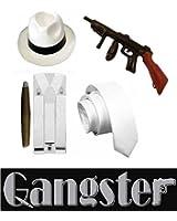 1920's Adult Unisex Gangster Al Capone Set Hat Tie Suspender Braces Fake Cigar & Inflatable Tommy Gun Fancy Dress Costume Accessories (Mega_Jumble)