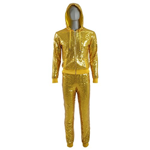 Dance Costumes Custom Made (Men's Gold Glitter Hoodies Pants Dancing Outfit Halloween Cosplay Costumes (Custom-made))