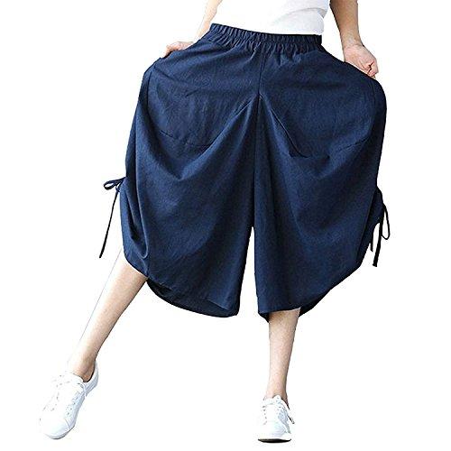 Casual Outdoor Vita Eleganti Damigella Larghi Gonna Dunkelblau Coulisse Trousers Di Monocromo Stoffa Estivi Donna High Con Pants Lunga Pantaloni Bendare Tasche Elastica Baggy Moda Waist zR1T5wx1q
