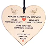 Gifts for Women Her Birthday Gift You Are Braver Stronger Smarter & Beautiful Personalized Gifts for Friend Friendship Sister Daughter under 10 Pounds Wooden Hanging Plaque
