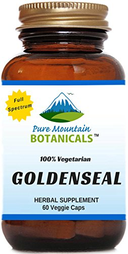 Organic Goldenseal Root Capsules. 60 Kosher Veggie Capsules With 250mg Organic Goldenseal Herb Powder