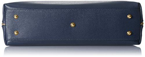 in saffiano Borsa 38x28x10cm Donna a 100 Mano Blu da Borsa pelle Vera Italy con stampa elegante CTM Made qFUwxZF