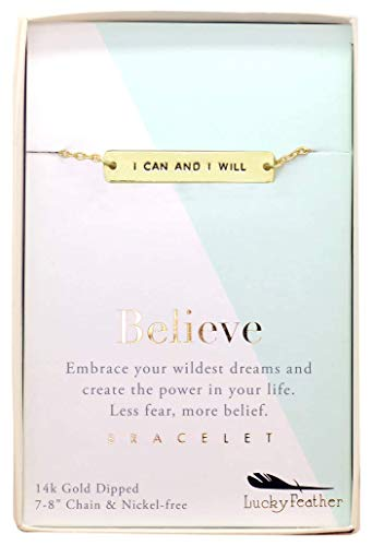 Lucky Feather Strong and Sassy Believe I Can and I Will 14k Gold Dipped Boxed Charm -