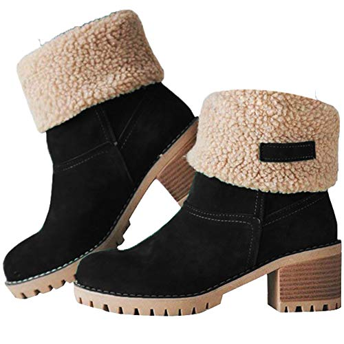 (JUSTFASHIONNOW Women's Ankle Snow Boots Warm Short Boots Suede Chunky Mid Heel Round Toe Winter Hiking Outdoor Booties - Black 41)