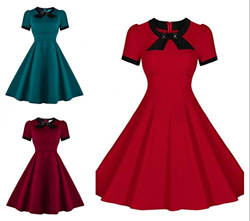 Babyonlinedress - Vestido - Cuello redondo - Manga corta - para mujer Azul