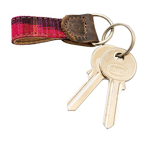 Rustic Mayan Key Chain Handmade by Hide  Drink :: Tropical Fuchsia