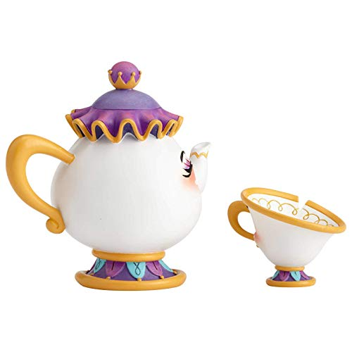 Enesco World of Miss Mindy Disney Beauty and The Beast Mrs. Potts and Chip Figurine Set, 4.06 Inch, Multicolor
