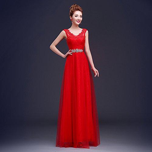 grand rouge XXXL JKJHAH Robes De Mariée Rouge Robes De Soirée Lace Girls