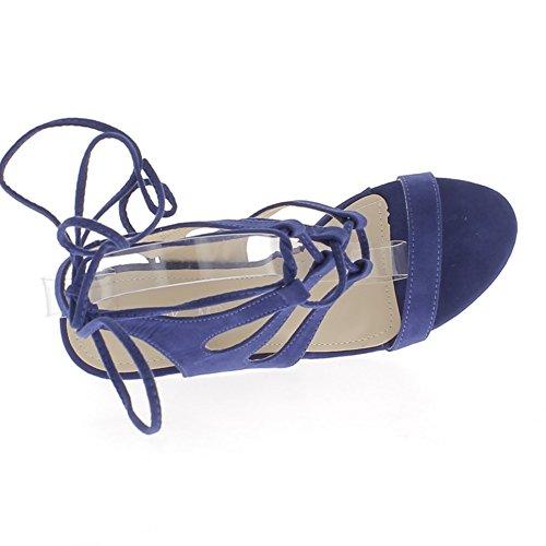 Sandals grande dimensione blu pizzo-fino a 10cm aspetto camoscio tacco